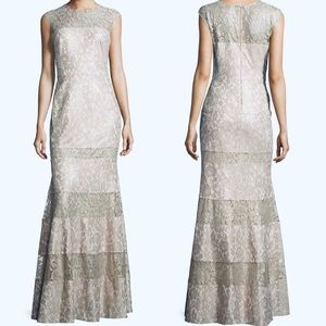 Kay Unger New York Silver Lace Panel Flared Gown